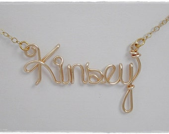 Kinsey Wire Name Pendant Necklace Gold Color, SALE!