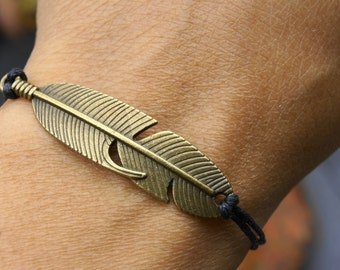 CREATING NEW! 1 adjustable metal bronze FEATHER BRACELETbrelqoue