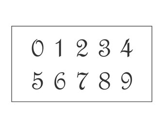 Number Stencil #113 - Numbers 0 to 9 - Great for signs and pillows, table numbers and mailboxes - 3 sizes available