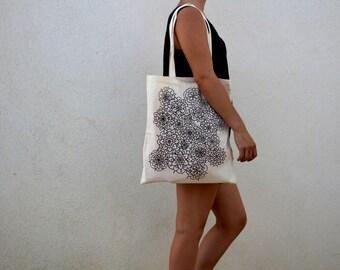 Handmade tote bag, floral pattern