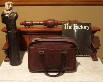 New York Coach Skinny Flight Bag In Mocha Leather Style No 9706- Made In the New York Factory - Rare Find- Strap Missing