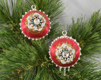 Vintage Set Of 2 Red Satin Sequin Christmas Ornaments
