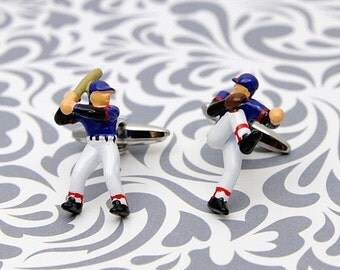 ON SALE ON Sale Baseball Cufflinks Player Pitcher Hitter Sports