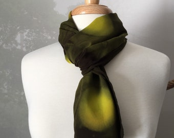 Chartreuse scarf, green scarf, tie dye scarf, hand dyed, tie dye, hand dyed scarf, black scarf, olive green scarf