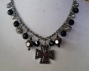 Silver & Black Cross Necklace - SOLD