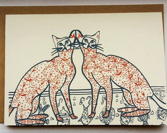 Siamese Cats Greeting Card A6 With Envelope
