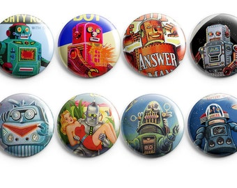 8 Vintage Robot buttons - robot party favors - 1950s robots, pulp buttons, fifties buttons, robot badges, robot birthday party, flair