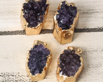 February 3pcs Irregular Amethyst Jewelry Lavender Stone Druzy Pendant Birthstone Jewelry Charm Gift For Women Jewelry DIY Findings Stone