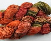 Hand Dyed Sock Yarn, Fingering weight, Superwash Merino and Nylon, New Multi-colorway EMBERS