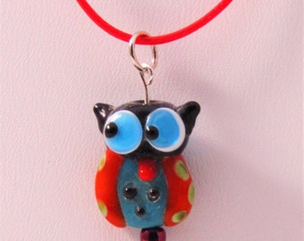 Black and Red Owl Lampwork Glass Pendant