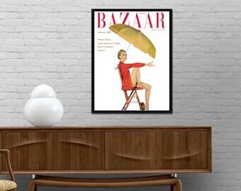 Bazaar cover vintage poster 1952 magazine print Harpers Bazaar Retro journal Minimalist design wall art Modern decor Best price art