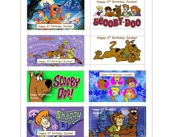 8 PERSONALIZED Scooby Doo Stickers, Birthday party favors, labels, rewards, decals, Custom Made