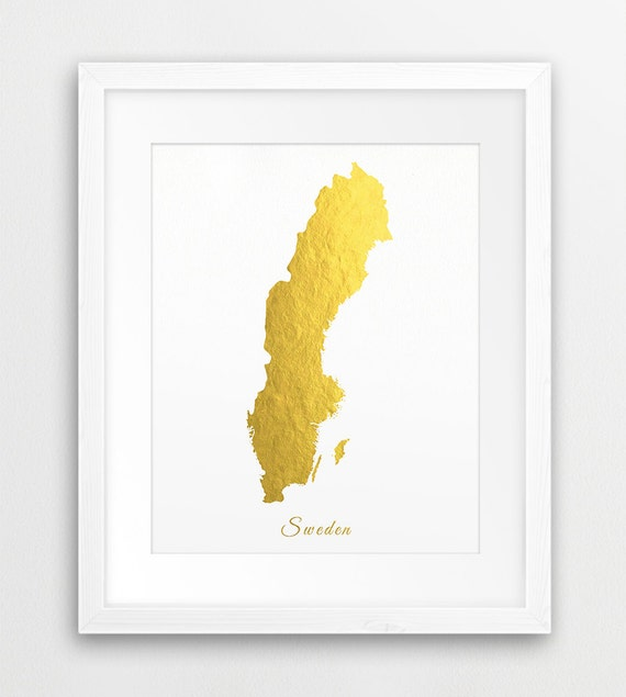 Sweden Map Printable Art Sweden Gold Foil Texture Sweden Map - Sweden map printable
