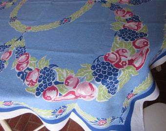 Vintage Fruit Swags Linen Tablecloth~Gorgeous Blue~1950's-1960's Kitchen Textile~Grapes