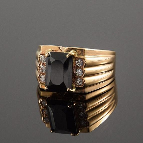 Black ring men Gold ring men SIgnet ring men Black stone