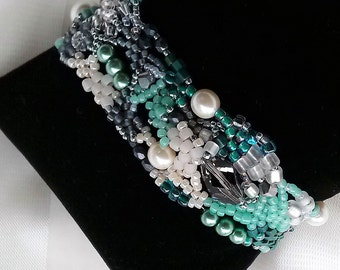 Freeform Peyote Greens and Ice Bracelet