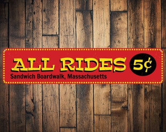 All Rides 5 Cents Sign, Personalized Boardwalk Location Sign, Beach Boardwalk Sign, Custom Beach House Decor - Quality Aluminum ENS1001358