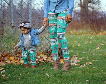 Mommy and me turquoise leggings, mommy and me outfits,matching mommy daughter,mom and baby,mommy and mini baby leggings, green legging set