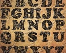 Monogram Zentangle Alphabet Cut file Monogram svg, png, dxf, eps, fcm and ai format Doodle Cut File