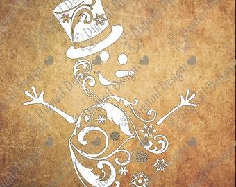 Swirl Snowman svg - png - dxf - eps - fcm - ai cut file for Silhouette - Cricut - Christmas Svg - Scroll Snowman - Flourish Snowman