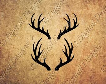 Deer Antlers SVG PNG DXF Eps Fcm Cut file for Silhouette, Cricut, Scan n Cut  Deer Antler Monogram Frame Svg