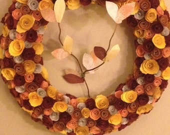 Paper flowers/Yellow flowers/burgundy flowers/paper leaves/Autumn colored wreath