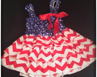 Baby Girls 4th July  Dress-Toddler Party Dress-Summer Cookout-Patriotic Dress-July 4-red white blue-12mos-2t summer dress