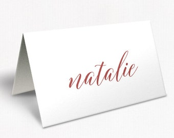 Marsala Red Wedding Place Cards, Modern Script Font, Watercolour Florals, Free Colour Changes, DEPOSIT | Peach Perfect Australia