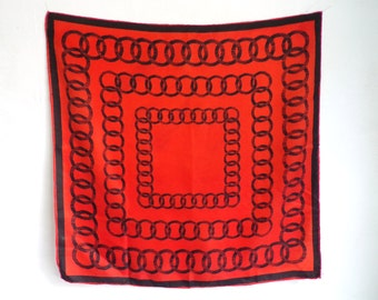 chain print scarf, silk scarf, red black, square scarf, 60s scarf, 1960s scarf, ascot, mad men, preppy mod retro