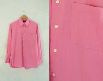 40%offAug18-21 mens pink dress shirt size large, size 16 / 34, twill cotton shirt, 80s shirt, mens button down shirt, long sleeve, 1980s