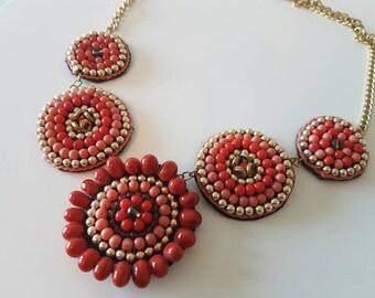 Coral Necklace Statement Necklace Boho Necklace Circle Necklace Beaded Necklace Pink Necklace Chunky Necklace