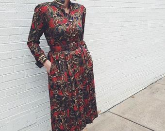 1970's trippy paisley dress