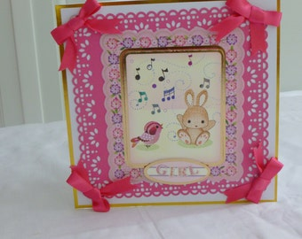 New Arrival, New Baby,  Birthday Card, Girl, Pink, Bunny and Bird, Daughter, Sister, Niece, Grand Daughter