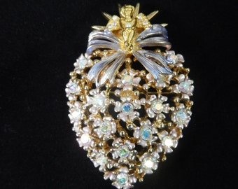 Vintage R J Graziano Signed Heart with Flowers and an Angel Brooch Pin