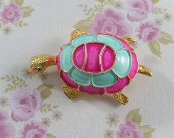 Vintage 60s KRAMER Signed Enamel Rhinestone Turtle Brooch pin