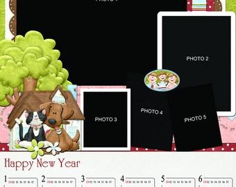 Wall calendar template - LT.86 (travel, album, wedding, baby, family, template, photoshop)