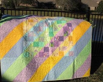 "Bright Diagonals Full Size Homemade Quilt 76"" x 100"""