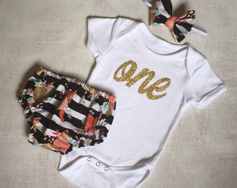 Baby girl's first birthday onesie, matching diaper cover, and headband, gold glitter vinyl