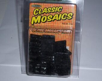 "Classic Mosaic Glass Tiles, 1"" square, 3oz, black"