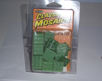 "Classic Mosaic Glass Tiles, 1"" square, 3oz, green mix"