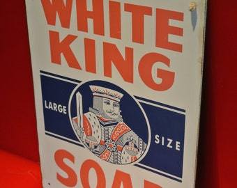 Perfect VTG 50's White King Soap Metal Sign