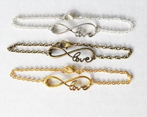 Infinity anklet, infinity bracelet, infinite love anklets, infinite love jewelry, Birthday gift, Bridesmaids gift, Infinity ankle chain