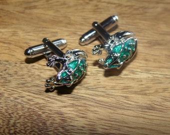 Frog cufflinks, Silver Frog Cufflinks, insect jewellery, green frog, Enamel cufflinks,  Mens cufflinks, Mens Gifts,