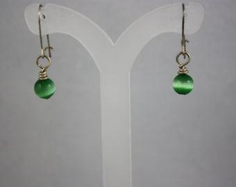 earrings, green earrings, cat's eye earrings, drop earrings, dangle earrings, hand made jewelry, handmade jewelry,