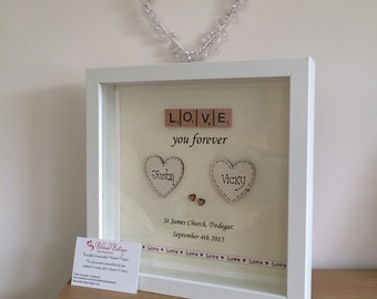 Wedding engagement scrabble frame