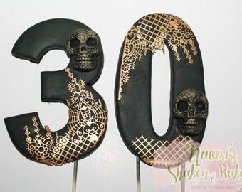 2x Edible Age Skull Rockabilly Punk Themed 13cm Fondant Cake Topper