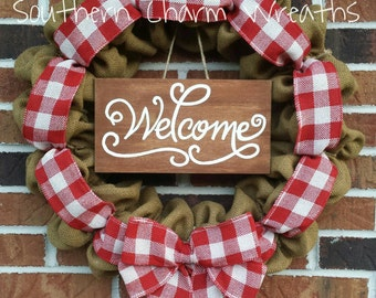 Red Gingham Burlap Summer Welcome Wreath