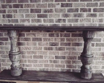 Pedestal Console (white washed) 6ft in length