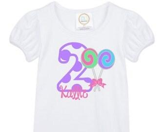 girls' personalized lollipop candy birthday shirt vinyl custom