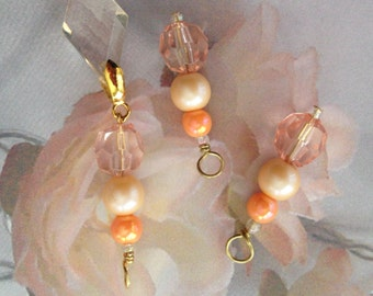 """Beaded """"Peaches & Cream"""" earrings/hoop charms and/or pendant from CharmingHoopHangers"""